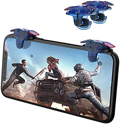 Newseego Mobile Game Controller Trigger,[Upgraded Version] Mobile Controllers Colorful Trigger Sensitive Shoot and Aim Button for Knives Out/Rules of Survival Trigger for Android & iOS-Blue