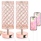 Touch Control Crystal Table Lamp Set of 2 Bedside Nightstand Lamps with 2 USB Charging Ports, 3-Way Dimmable, K9 Crystal Decorative Desk Lamp for Bedroom, Bulbs Included