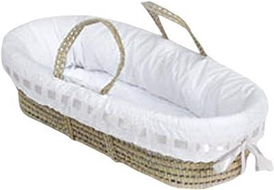 Baby Doll Bedding Pretty Ribbon Moses Basket, White