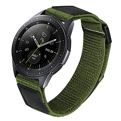 TRUMiRR Nylon Band for Samsung Galaxy Watch 42mm / Watch3 41mm / Active2 44mm 40mm / Gear Sport, 20mm Loop Woven Nylon & Genuine Leather Watchband Quick Release Strap for Garmin Vivoactive 3
