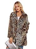 Shilanmei Women Warm Long Sleeve Parka Faux Fur Coat Overcoat Fluffy Top Jacket Leopard (Brown, M)