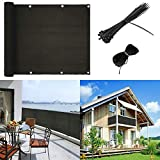 caiyuangg Balcony Privacy Screen Cover Balcony to Cover Balcony Shield Cover Mesh Fence Windscreen for Porchs Deck Patio(3'x16.4') (Black)