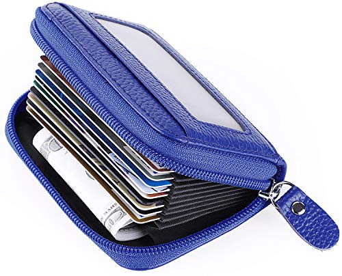 MaxGear Leather Credit Card Holder Credit Card Wallet with Zipper Genuine Leather Credit Card Protector RFID Small Zip Around Wallet Blue