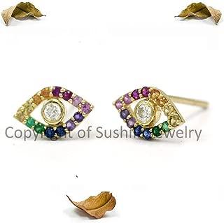 Genuine Rainbow Multi Sapphire & Diamond Evil Eye Studs Earrings in Solid 14k Yellow Gold Handmade Minimalist Wedding Jewelry