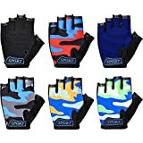 6 Pairs Kids Half Finger Gloves Fingerless Cycling Gloves Sport Gym Gloves Non-Slip Gel Bicycle Gloves for Children Mountain Road Riding Biking, 6 Colors