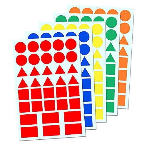 5 Couleurs - Gommettes Formes Géométriques (Cercle, Triangle, Carré, Rectangle) - 900 Pieces
