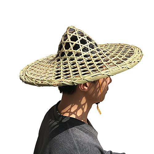 Sunny Hill Chinese Handmade Natural Hollow Out Lattice Bamboo Braid Hat Fishing Cap Adult Rice Hat (Cone Top Hat)