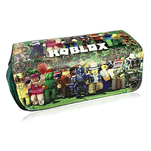 Roblox Estuche Escolar de Gran Capacidad, Bolsa de Lápiz Portable Estuche Organizador de Material Papelería con Cremallera Doble para Estudiantes en Escuela y Empleados en Oficina