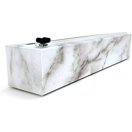 ChicWrap Marble Refillable Plastic Wrap Dispenser with 250' of Professional BPA Free Plastic Wrap - Reusable Dispenser with Slide Cutter