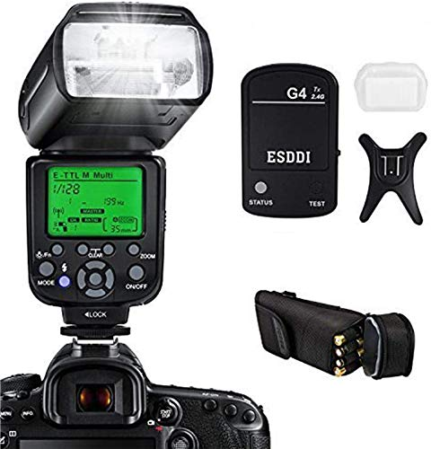 ESDDI Camera Flash for Canon Dslr Camera, E-ttl 1/8000 Hss Gn58, Multi, Wireless Camera Flash Set Include 2.4G Wireless Flash Trigger, Cold Shoe Base Bracket and Accessories