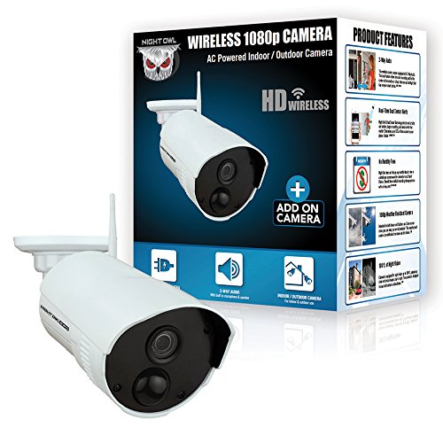 Night Owl Security Add-on Indoor/Outdoor Wireless 1080p AC Powered Camera, White (CAM-WNR2P-OU)