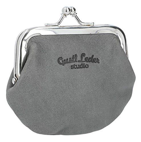Gusti Portemonnaie Leder - Frida aus Leder mit Clipverschluss Klickverschluss Spangenportemonnaie Geldbörse Vintage Grau