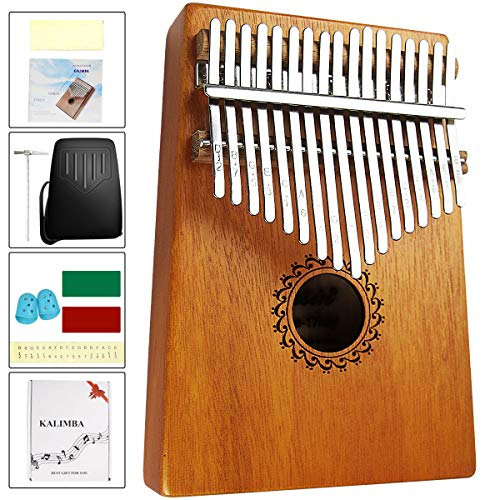Karimba 17 Key Thumb Piano Kalimba EVA High Performance Protective Case Mahogany Key Portable Mushilla Finger Piano Gift Suitable for Children and Piano Beginners (Brown)