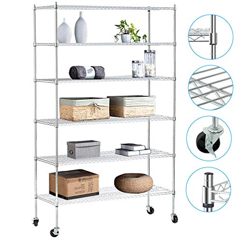 """NSF Wire Shelving Unit 6-Shelf Large Storage Shelves Heavy Duty Metal Wire Rack Shelving Height Adjustable Commercial Grade Utility Steel Storage Rack on 4"""" Casters 6000LB Capacity-18x48x76,Black"""