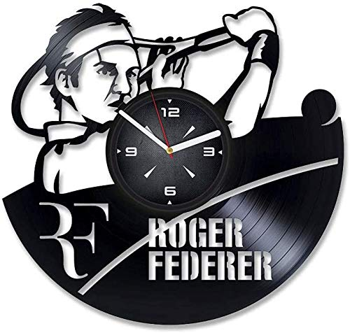 Roger Federer Tennis Vinyl Record Retro Orologio da Parete Capodanno Regalo di Natale Regalo di Natale personalità Creativo Design della casa Decorazione della Parete