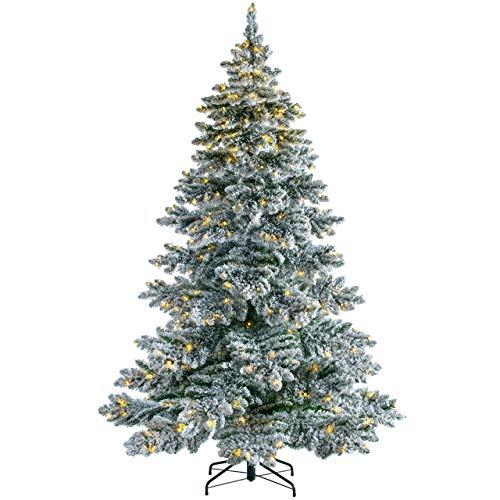 WeRChristmas Pre-Lit Snow Flocked Alpine Christmas Tree, White, 6 ft