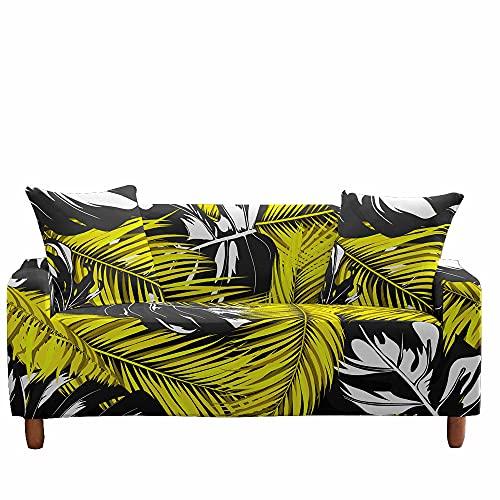 Funda de Sofá Elástica para Sofá de 1 2 3 4 Plazas, Fansu Ajustable Estampado de Plantas Tropicales 3D Cubre Sofa con 1 Funda de Cojín, Antisuciedad Protector de Muebles (Hojas Amarillas,1 plazas)