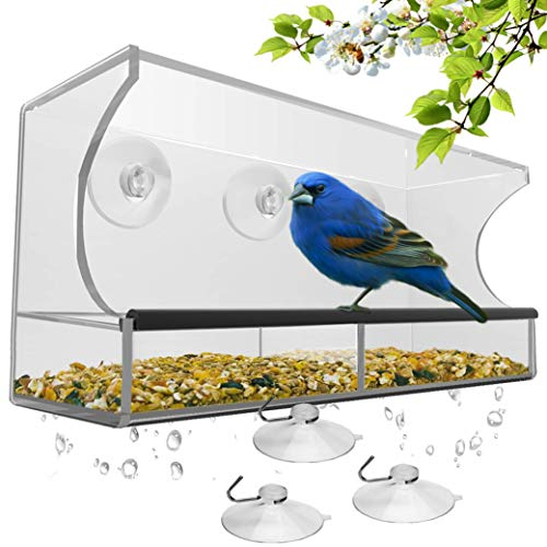Window Bird Feeder with Strong Suction Cups and...