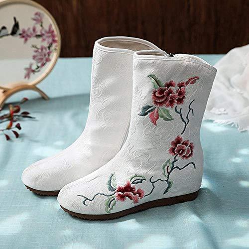 Haftowane buty dla kobiet Kobiety Bawełniane Botki Kwiat Haftowane Panie Casual Wygodne Botki Jacquard Retro Kobiety Jesieni Buty haftowane obcasy Lynlyn. (Color : White, Size : 36)