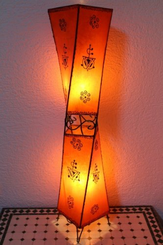 Saharashop Orientalische Stehlampe Henna-Carré 98 cm Leder Orange