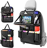 Car Backseat Organizer with Tablet Holder PU Leather Car Seat Back Protectors Kick with Foldable Table Tray Car Seat Organizer Mats Travel Accessories