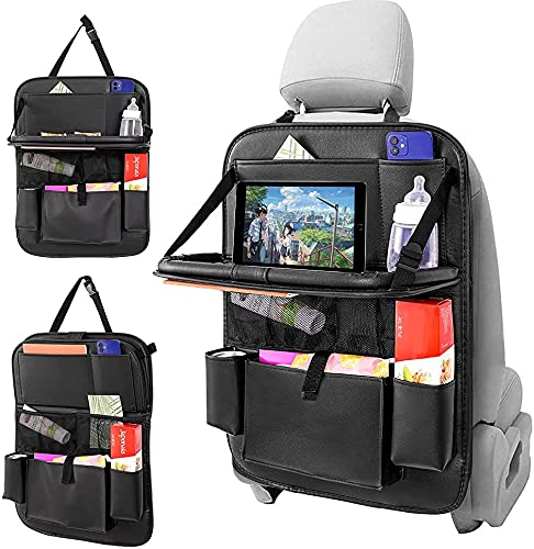 Car Backseat Organizer,with Tablet Holder PU Leather Car Seat Back Protectors Kick with Foldable...
