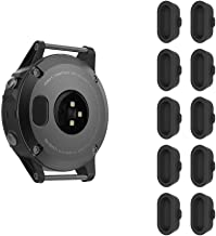 FINTIE Dust Plug Compatible with Garmin Fenix 5/5S/5X, [10 Pack] Silicone Charger Port Protector Anti-dust Plugs Caps for Garmin Instinct/Vivoactive 3/3 Music/Forerunner 935 Smartwatch, Black