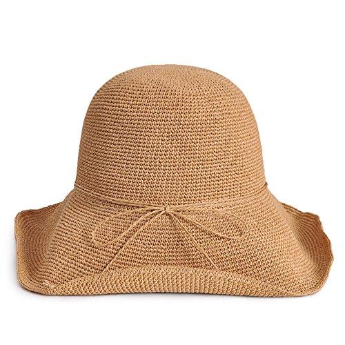 WYYY Chapeau Dame Chapeau De Soleil Chapeau De Plage Pliable Fabriqué À La Main Par Le Travers Protection Contre Le Soleil ( Couleur : Marron )