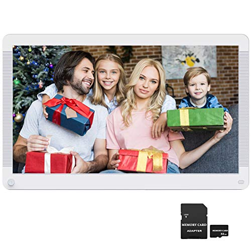 Digital Picture Frame 17.3 Inch 1920x1080 16:9 Ratio Screen, Motion Detection, Photo Auto Rotate, HD Video Frame, Background Music, Auto Play, Wall Mountable, Remote Controller, Include 32GB SD Card