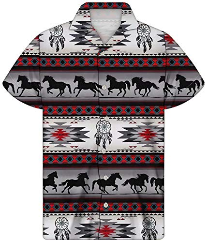 AFPANQZ Indian Horses Style Hawaiian Shirts for Men Vintage Streaks Design Native American Dreamcatchers Button Down Shirts Beach Tops Summer Tunics XL