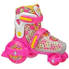 "childrens-roller-skates Outgrow no more! Adjust up to 4 sizes at the twist of a lever. Small (7J-11J) or Medium (11J-2) Learn to skate with the rugged and fun ""tractor skate"" design Strong and supportive boot with extra-cushy padded liner for comfort..."