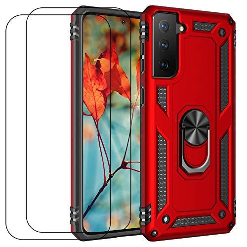 Carcasa compatible con Samsung S21 Case Samsung S21 funda con cristal templado, antigolpes, anticaídas todo el cuerpo (rojo)