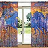 MyDaily Gardine mit Pferdemotiv, durchsichtig, 2 Paneele, 139,7 x 19,8 cm, Stangen-Tasche, transparente Vorhänge für Wohnzimmer, Schlafzimmer, Dekoration, Polyester, Multi, 55' x 84' Each...