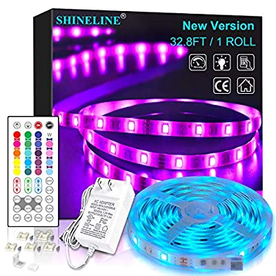LED Strip Lights 32.8ft, 1 Roll RGB Led Lights 5050 LEDs Rope Light Strip Kit with 44 Key Remote Control and 24V Power Supply Color Changing LED Tiktok Lights for Bedroom, Room, Kitchen, Home Decor