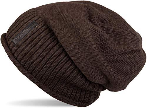 styleBREAKER warme Feinstrick Beanie Mütze mit sehr weichem Fleece Innenfutter, Unisex 04024065, Farbe:Dunkelbraun