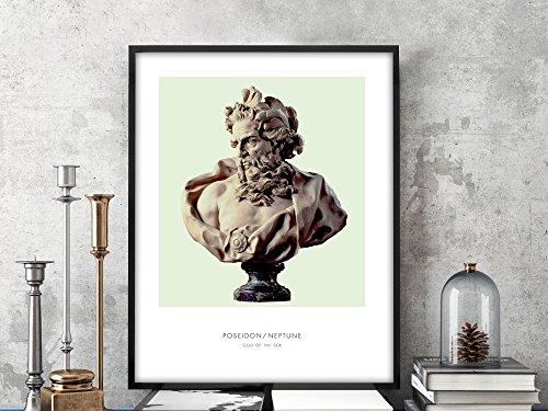 Poseidon   Portrait of Poseidon, Mythology, Poseidon Bust, Poseidon Photo, Poseidon Art Print, Modern Home Decor, Green, Bust Art Print