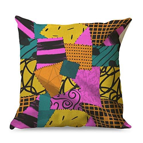 OwlOwlfan Nightmare Before Christmas Halloween Pillowcase Printing Comfortable Cotton Linen Pillowcases for Sofa Car Chair white 45x45cm