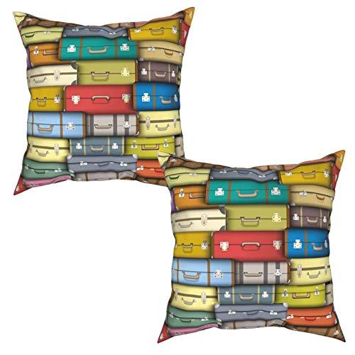 Gggo 2 Piezas Fundas de Cojines Fondo Maletas Coloridas Diseño Temático Vintage Viaje Viaje Vacaciones Suave Almohada Decorativo para Habitacion Sofá Dormitorio Oficina Sala-50x50cm