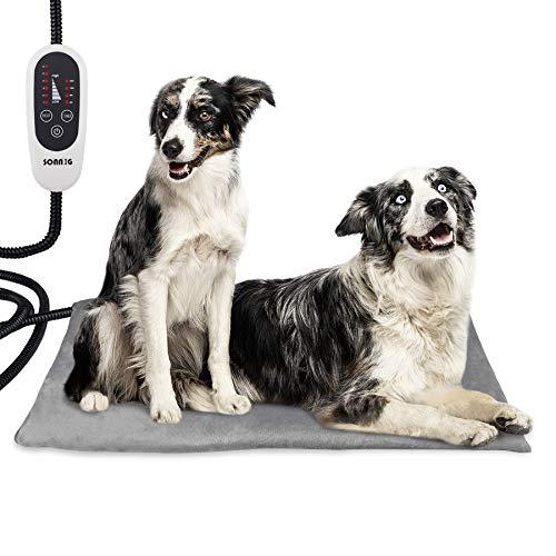 SONNIG Almohadilla Térmica Mascotas, Temperatura Ajustable Almohadilla Eléctrica para Perros y Gatos,...