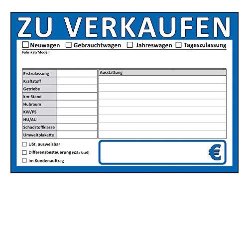 ZU VERKAUFEN Schilder DIN A4, beidseitig bedruckt, KFZ, Auto, PKW Handel (DIN A4, Blau, 1)