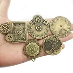 YoudiylaUK 30 pcs Mixed Antique Bronze Watch Clock Face Gear Steam Punk time Charms Pendants DIY Necklace Bracelet Pendants for Jewelry Making M71 #2