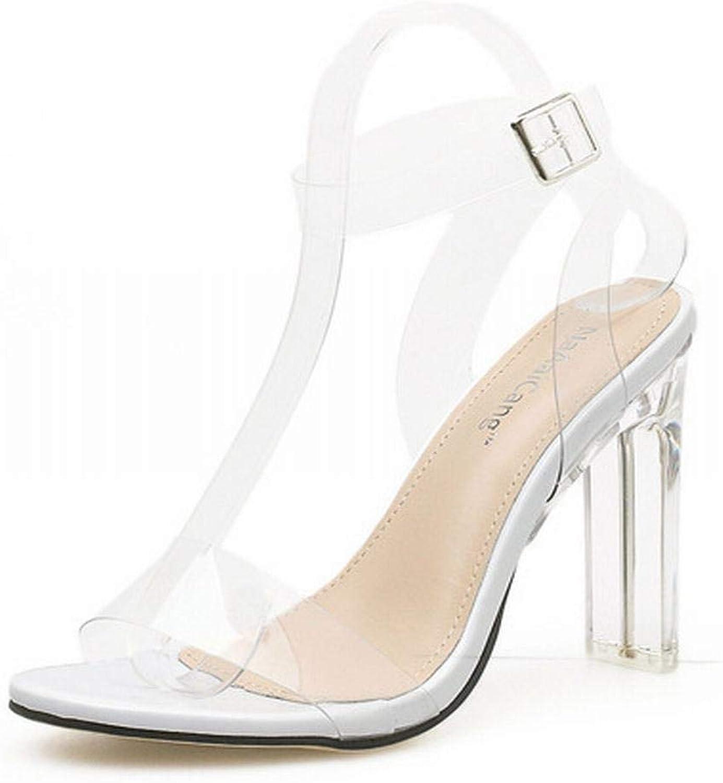 Honneury Transparenter Kristall für Frauen mit hohem Absatz und Absatzsandalen Sandalen für Frauen (Farbe   Weiß, Größe   37)