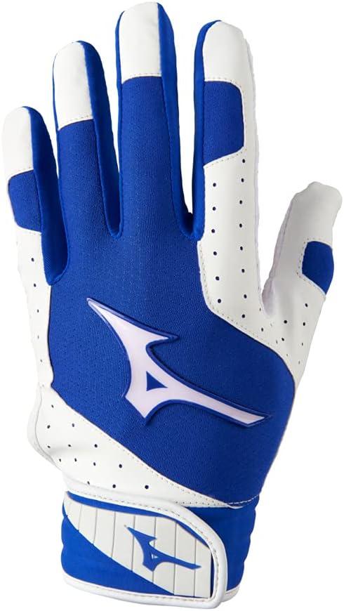 Mizuno Finch Women's Softball Padded Batting Glove, White-Royal,