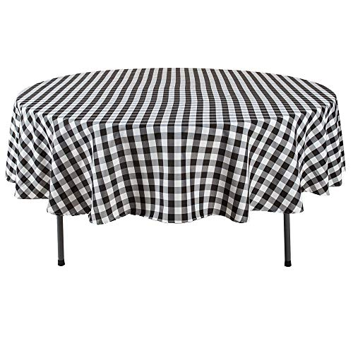 YRYIE 90 inch Round Buffalo Checkered Polyester Tablecloth Gingham for Family Dinners or Gatherings,Parties,Holiday Dinner Kitchen Accessories,Black & White