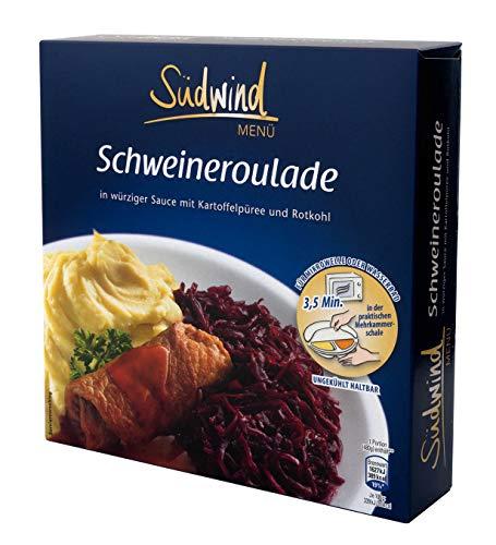 Saftige Schweineroulade in würziger Sauce mit Kartoffelpüree und Rotkohl – Fertiggerichte für die Mikrowelle / Wasserbad - Südwind Lebensmittel