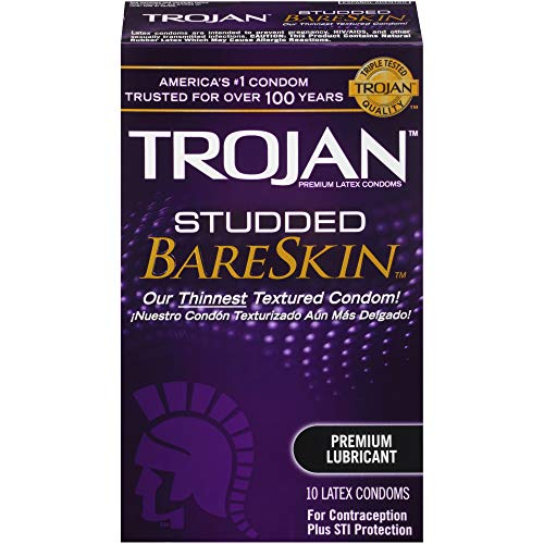 Trojan Studded Bareskin Lubricated Condoms, 10ct