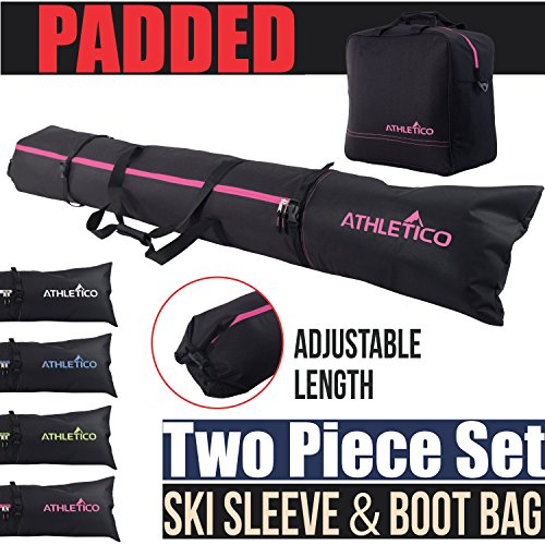 Athletico Padded Two-Piece Ski and Boot Bag Combo | Store & Transport Skis Up to 200 cm and Boots Up to Size 13 | Includes 1 Padded Ski Bag & 1 Padded Ski Boot Bag (Black with Pink Trim (Padded))
