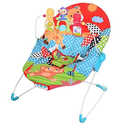 Dondolo Sdraietta Per Neonati Vibrante Musicale Fitch Baby per Bambino e Arco Giochi Rimovibile Colore Rosso