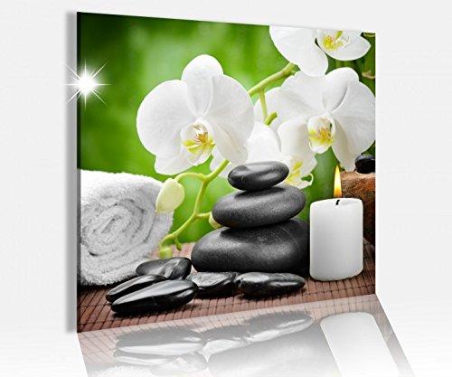 Acrylglasbild 50x50cm Wellness Kerze Orchidee Steine Glasbild Bilder Acrylglas Acrylglasbilder Wandbild 14C569, Acrylglas Größe3:50cmx50cm