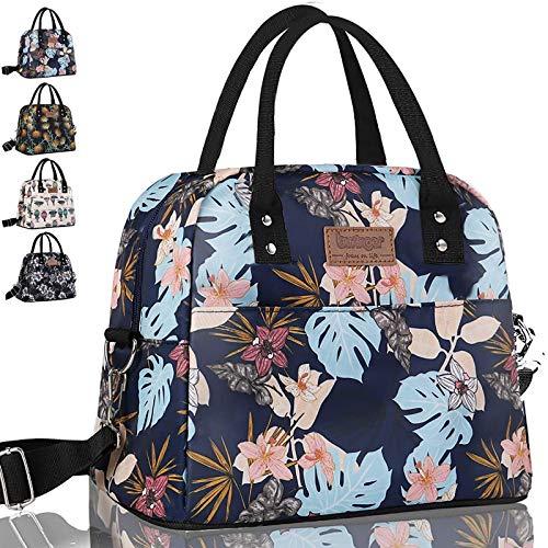 Newox Isolierte Lunchtasche Lunch Bag Cool Bag mit Abnehmbarem Verstellbarem Schultergurt für Lunch Boxes Wasserdichtes Gewebe Faltbare Picknick-Handtasche für Frauen, Erwachsene, Studenten und Kinder
